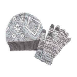 MUK LUKS Gray Blue Beanie Touchscreen Glove Set